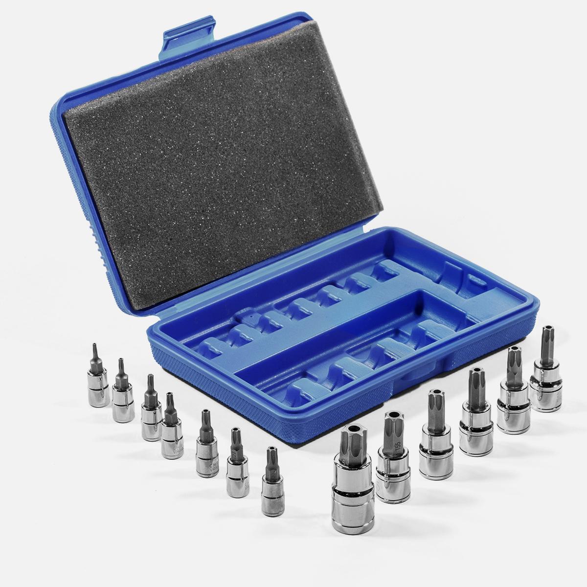 13 Pc 6-POINT Torx Star Security S2 Steel Bit Socket Set w// Case