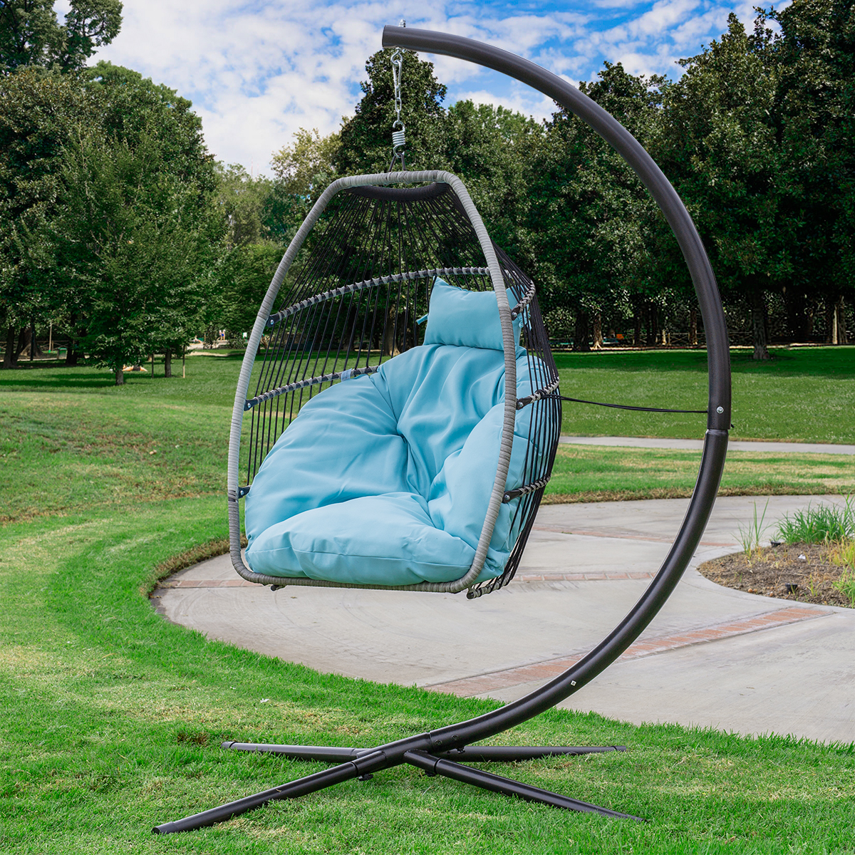 Fabulous Details About Premium Outdoor Hanging Chair Swing Chair Patio Egg Chair Large Cushion Large Caraccident5 Cool Chair Designs And Ideas Caraccident5Info