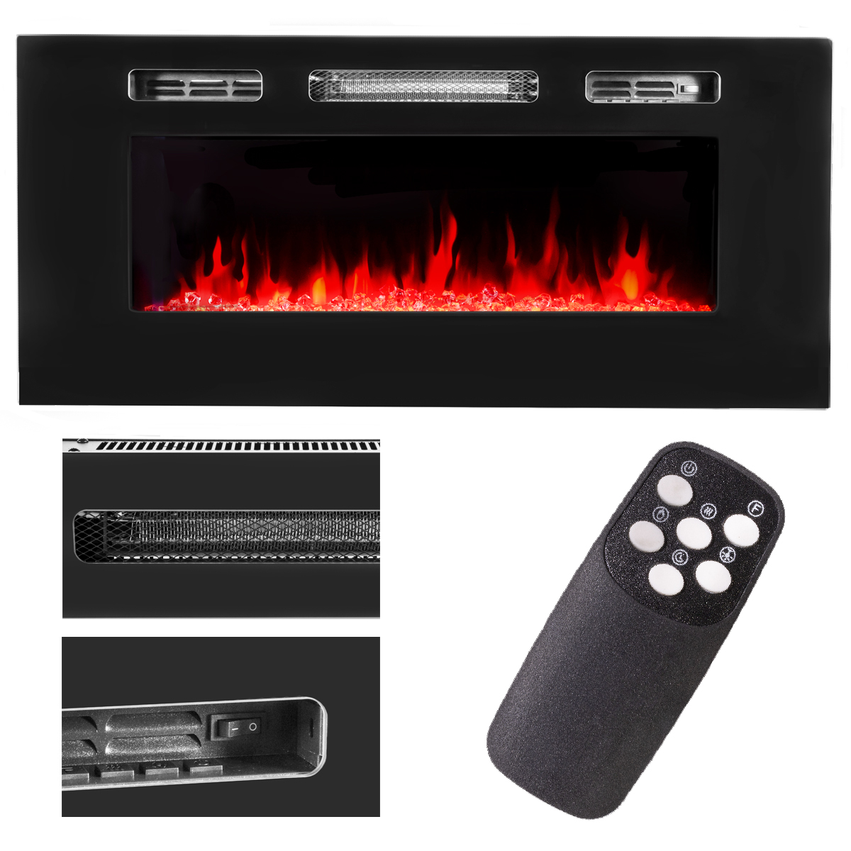 Astounding Details About 40 1500W Recessed Wall Mount Fireplace Electric Insert Heater Multi Flames Interior Design Ideas Gentotryabchikinfo