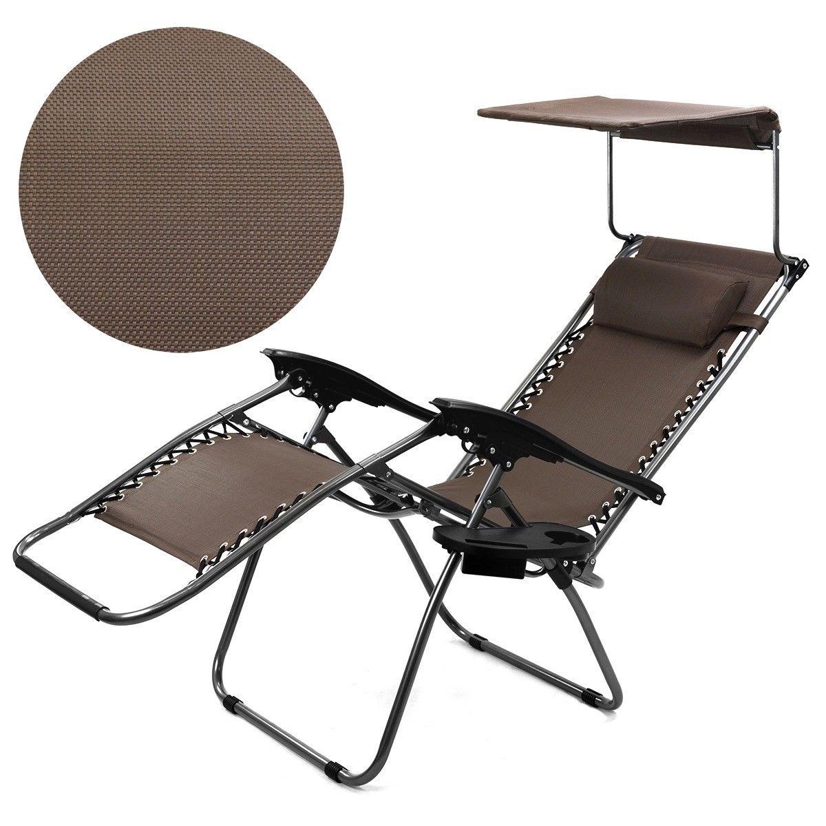 Zero Gravity Lounge Chair Canopy Sun Shade Cup Holder