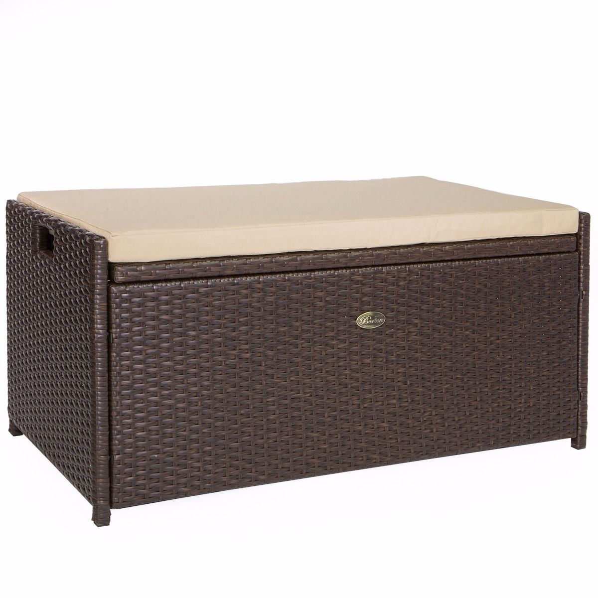 Details About All Weather Rattan Pool Deck Box Storage Wicker Backyard  Patio Outdoor W/ Seat