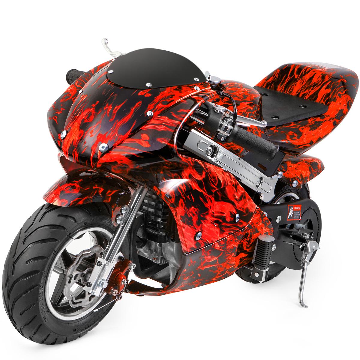 Mini Pocket Bike Gas 40cc Motorcycle 4 Stroke Engine Epa Motor Red Flame 715050831992 Ebay