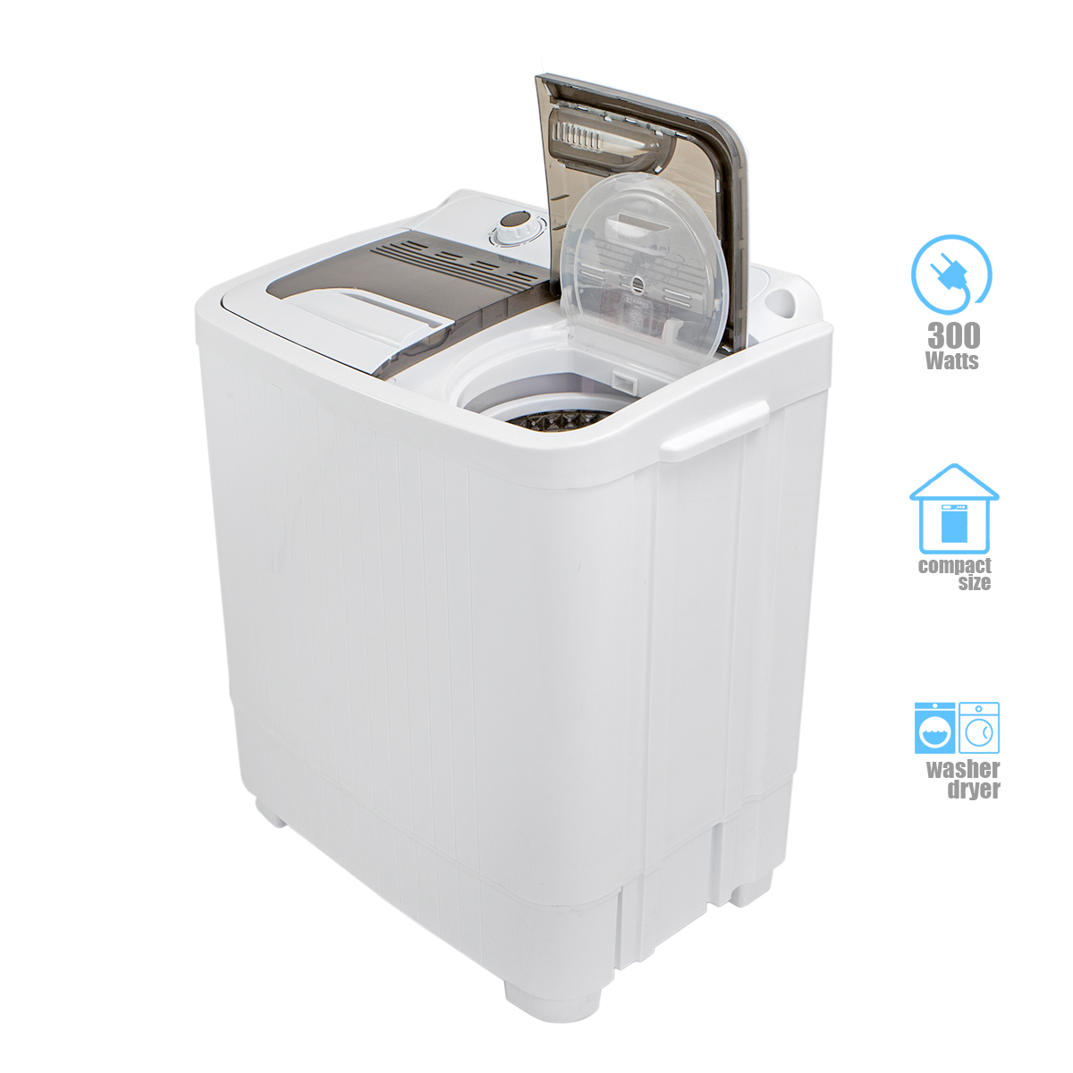 Details about Compact Portable Washer & Dryer with Mini Washing Machine and  Spin Dryer- White