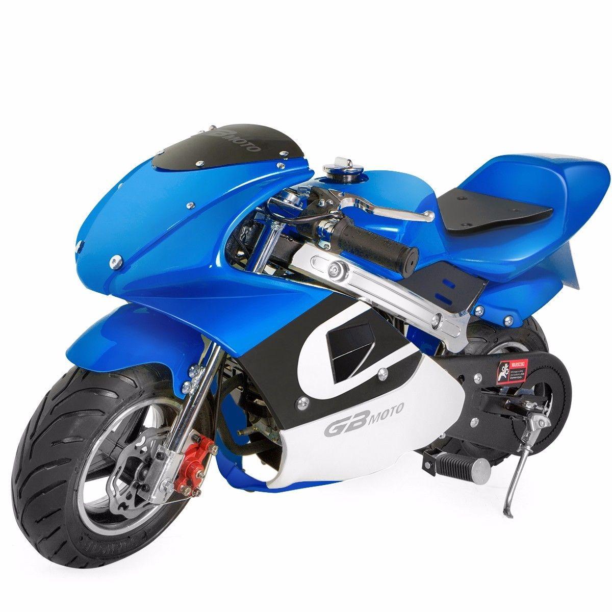 Mini Pocket Bike Performance Pull Start 47cc 49cc Blue