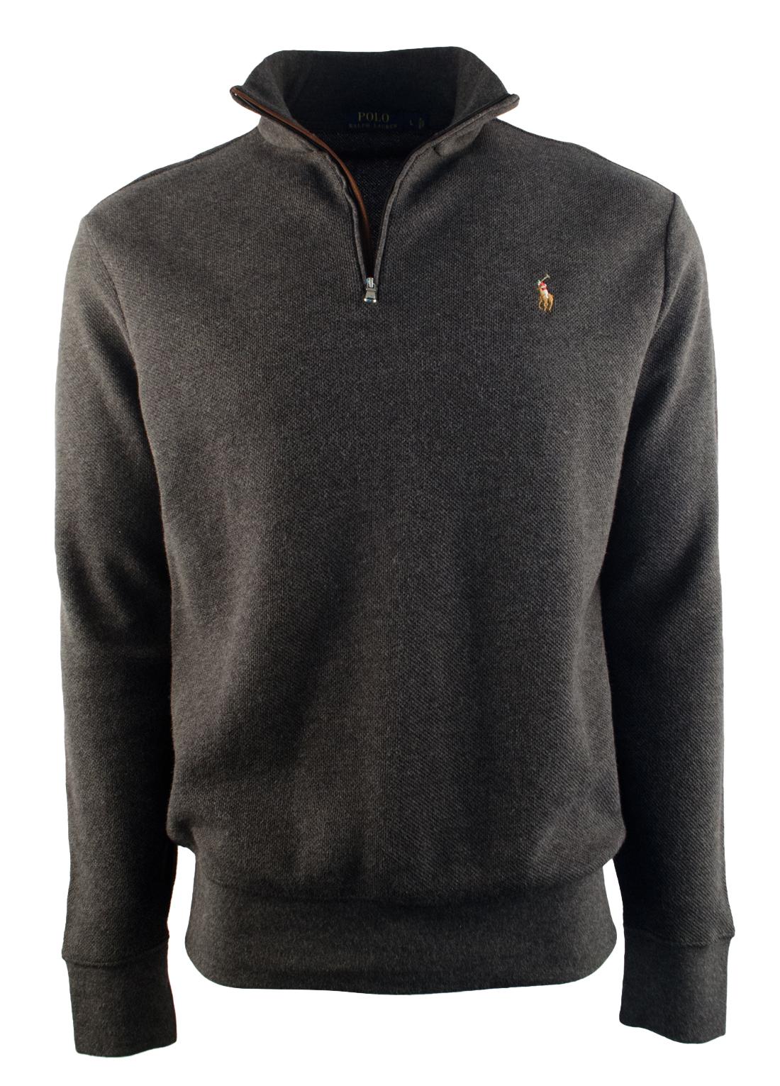 34bf4b059b30 coupon code polo ralph lauren mens half zip suede trim mock neck pullover  dark grey heather