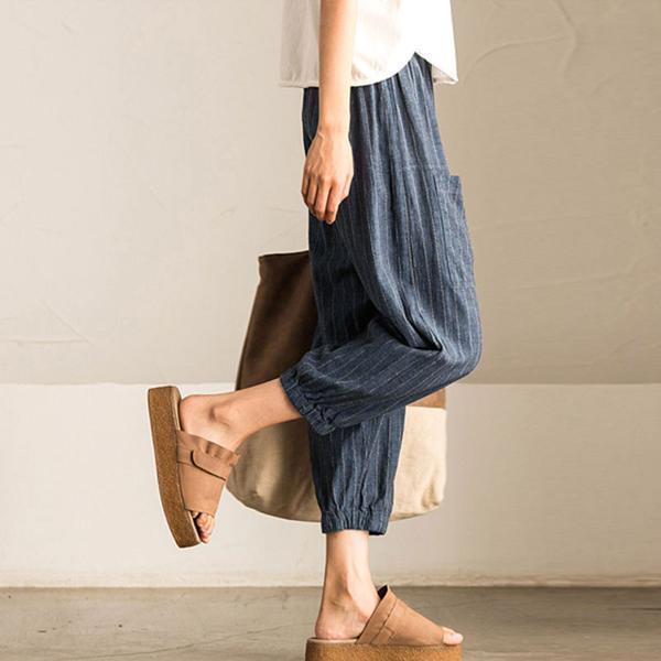 Summer-Women-Striped-Lantern-Pants-Elastic-Waist-Loose-Fit-Pencil-Harem-Trousers