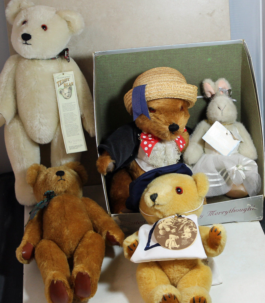 Lot of 5 Teddys  Bully orso, Muffy Veerorso, Veerorso, Veerorso, gree Softie (2), Merrythought 9a9465