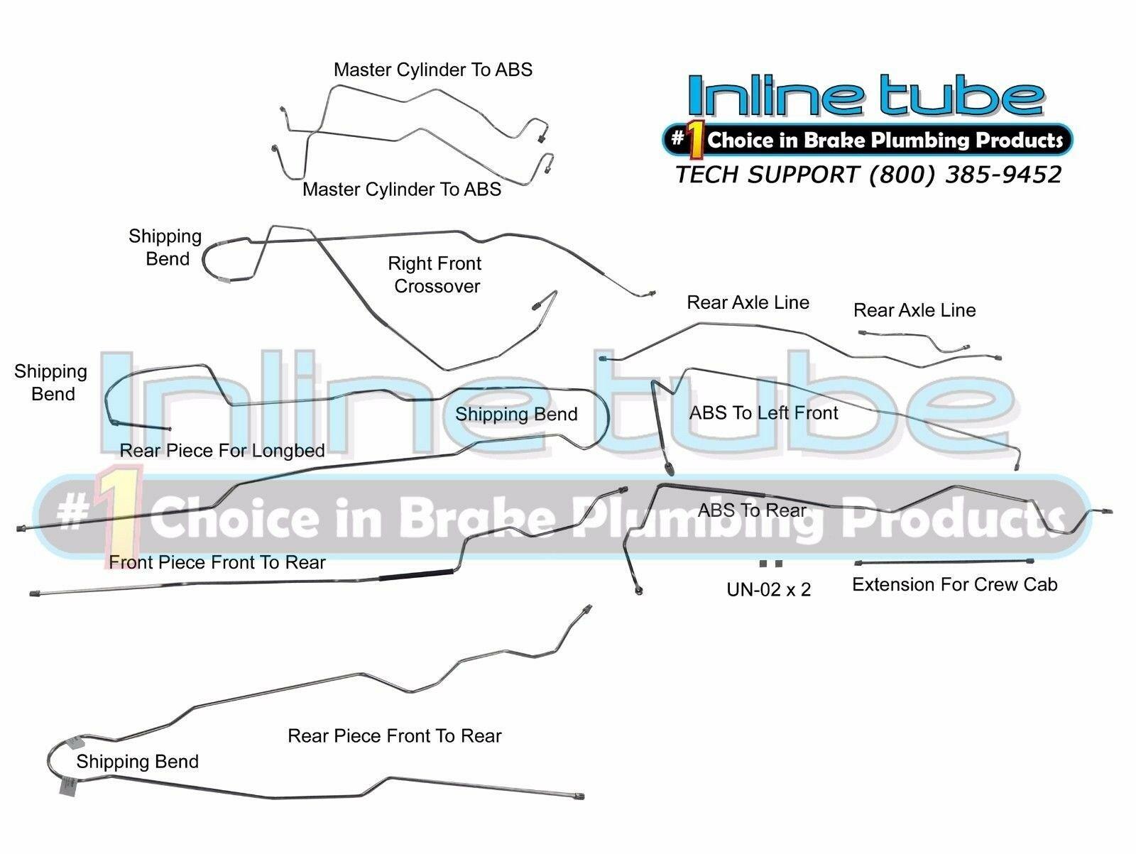 1999-2005 Ford F250 F350 SD CREWCAB LONGBED Brake Line Set Kit 4WD 4ABS 11P  SS   eBayeBay