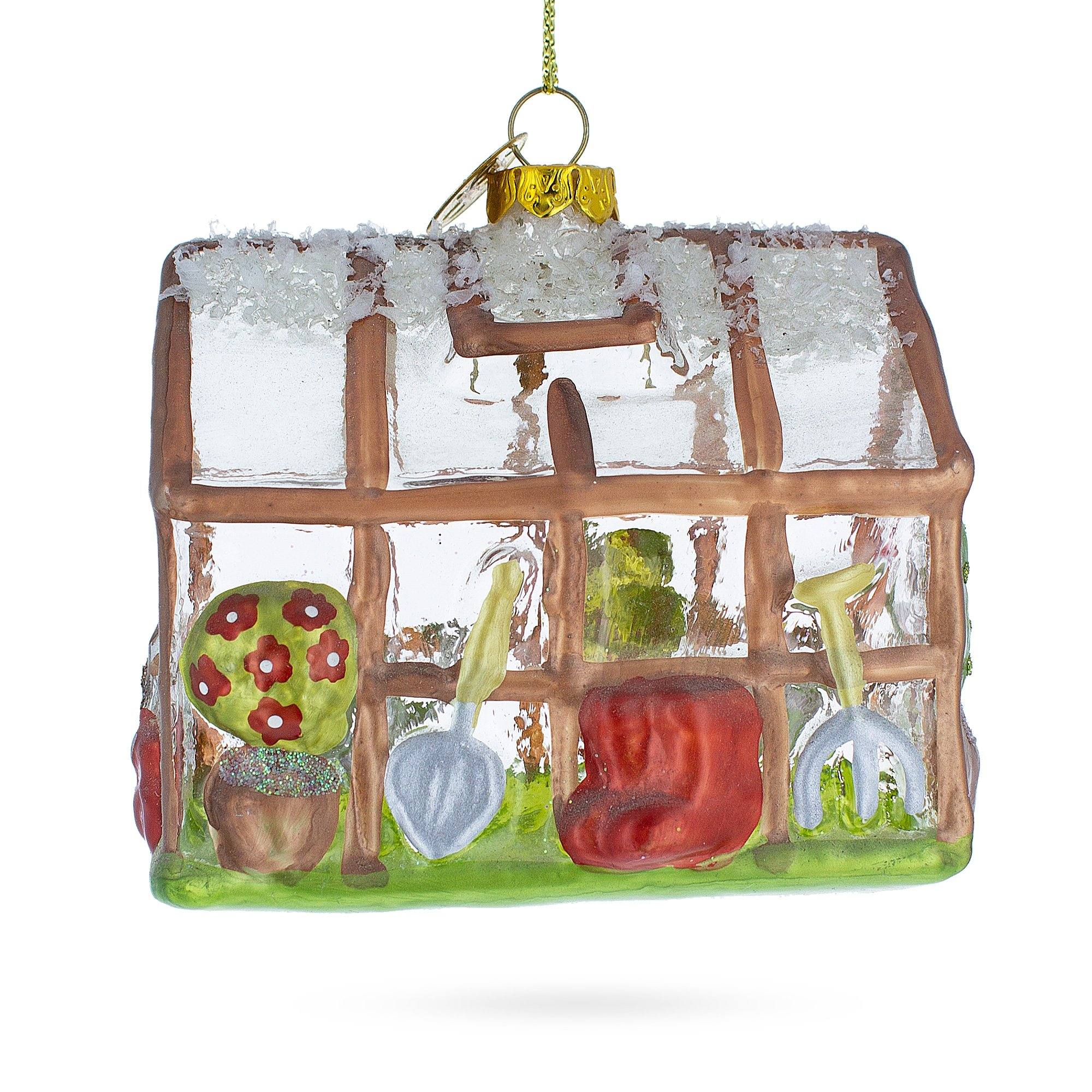 Greenhouse and Tools Blown Glass Christmas Ornament | eBay