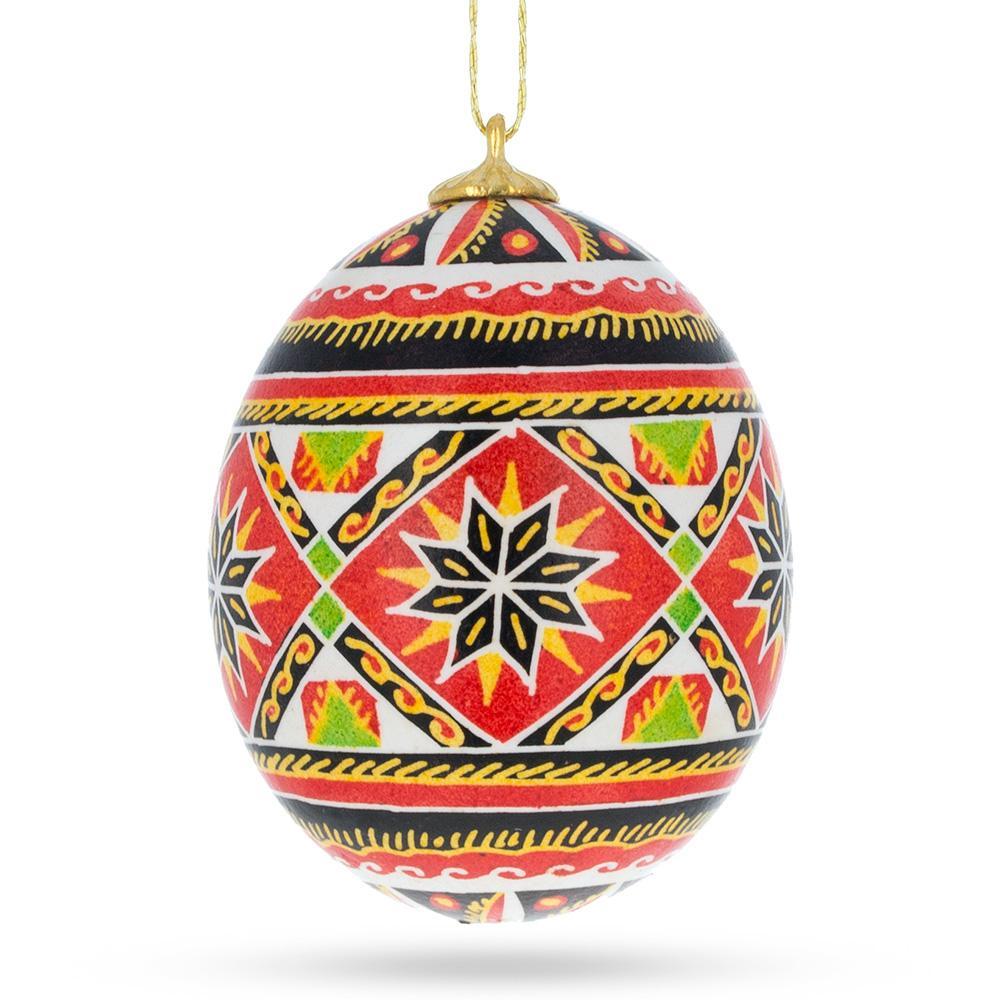BestPysanky The Green Star Ukrainian Pysanka Glass Egg Ornament