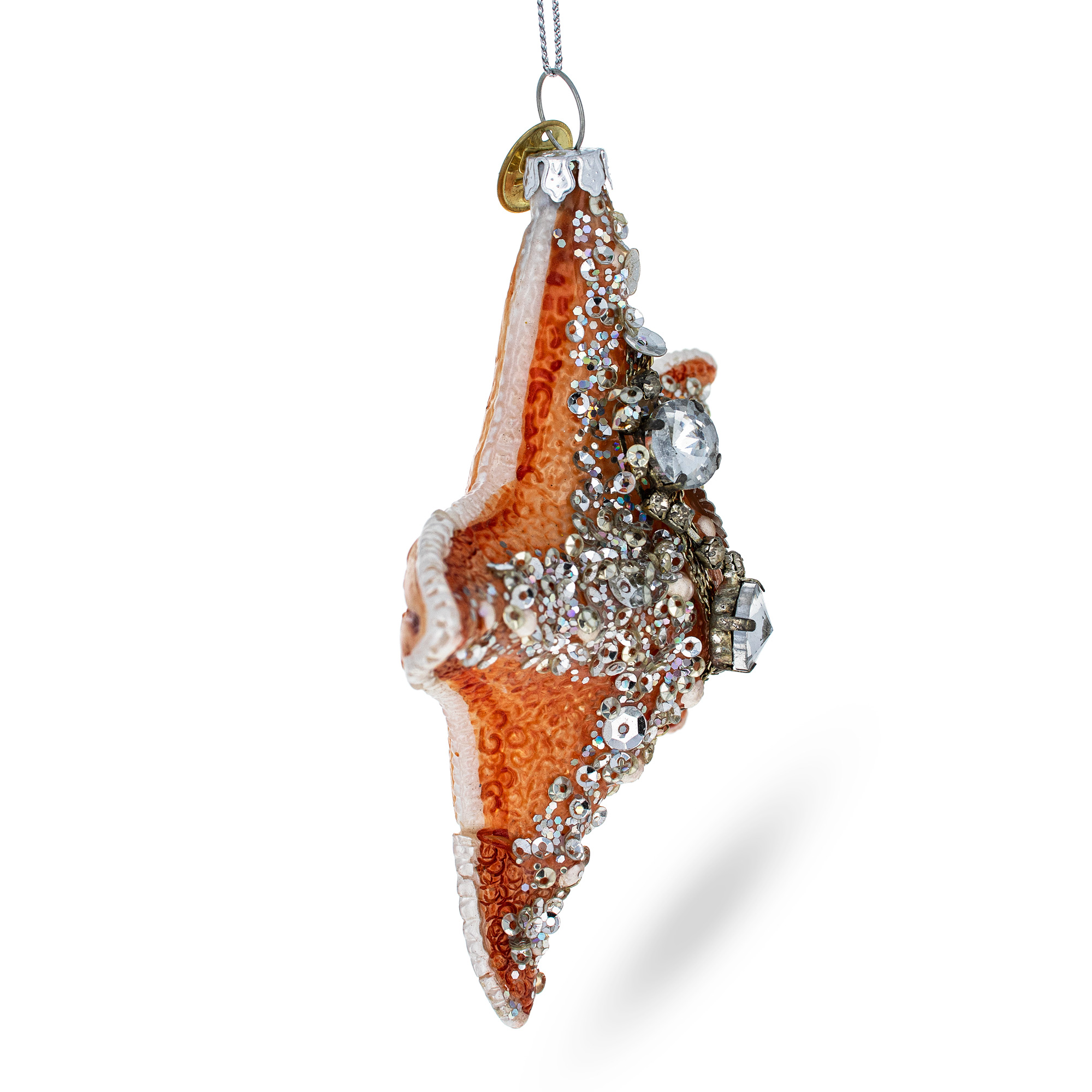 Glittered Starfish Blown Glass Christmas Ornament