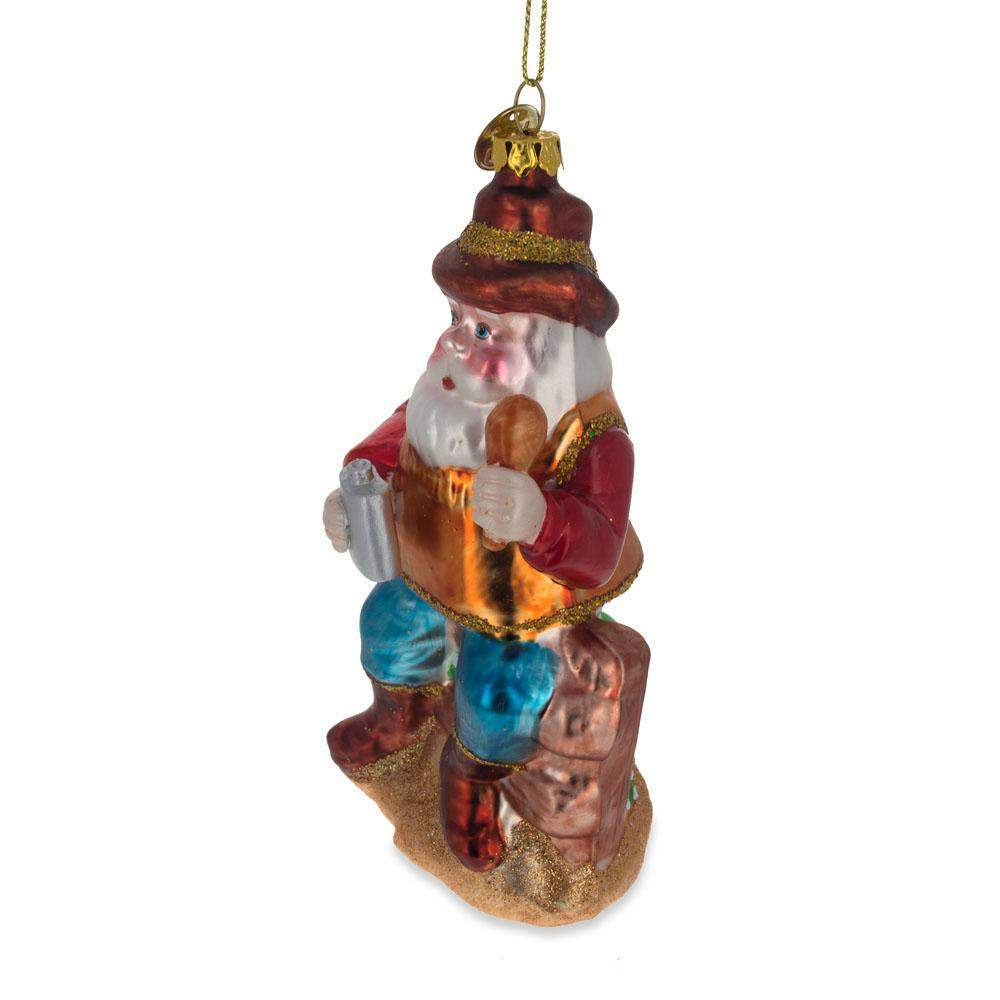 BestPysanky Polar Bear in Red Christmas Hat Blown Glass Christmas Ornament 4.75 Inches