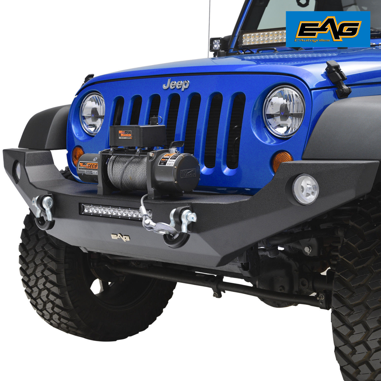 Jeep Wrangler Jk Front Bumper >> Eag Full Width Front Bumper W Fog Light Holes For 07 18 Jeep