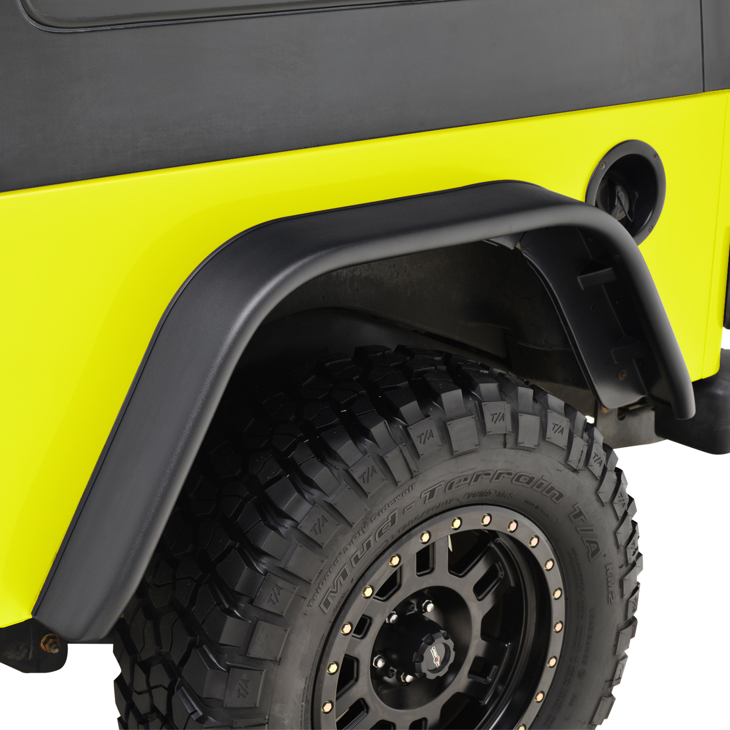 EAG Fit 97-06 Jeep Wrangler TJ ABS with Side LED Flat Style 4pcs Fender Flares