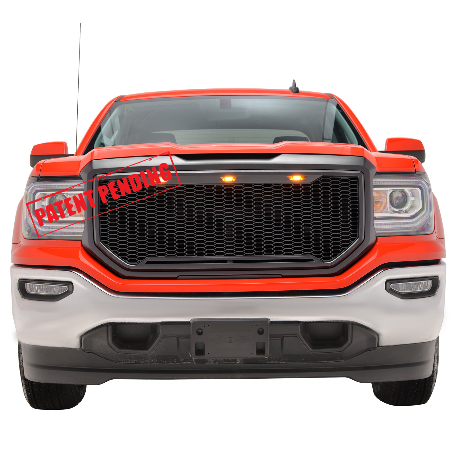 Matte Black Fit for 16-18 Toyota Tacoma EAG Replacement Upper Grille Front Full Grill with Amber LED Lights