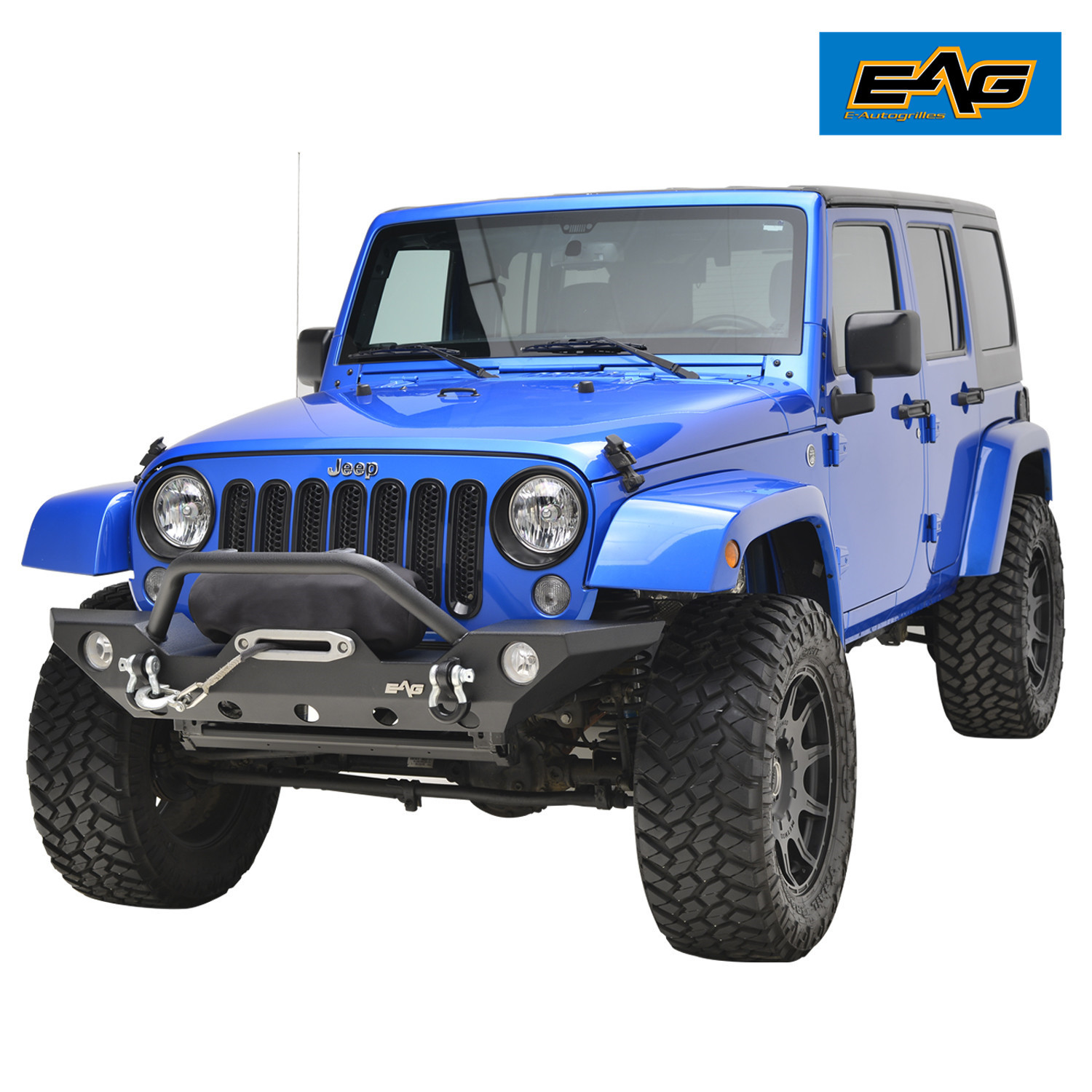 EAG Front Bumper with LED Lights for 2007-2018 Jeep Wrangler JK