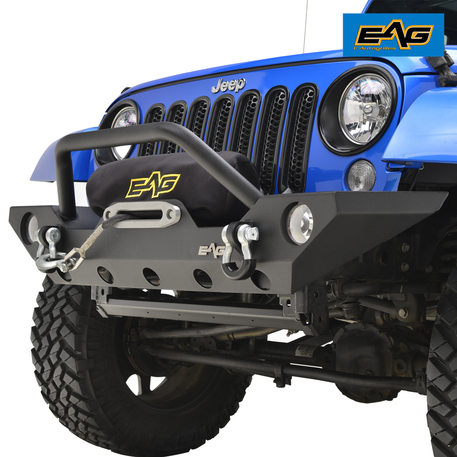 EAG Front Bumper with Winch Plate for 07-18 Jeep Wrangler JK Rock Crawler