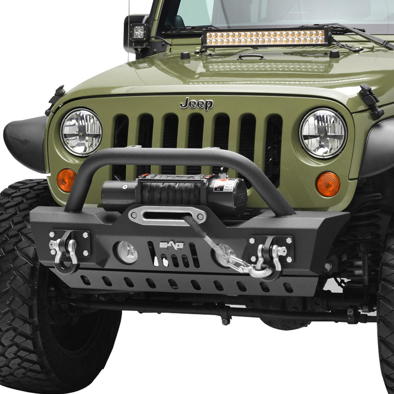 EAG Black Textured Stubby Front Bumper W//Skid Plate for 07-18 Jeep Wrangler JK