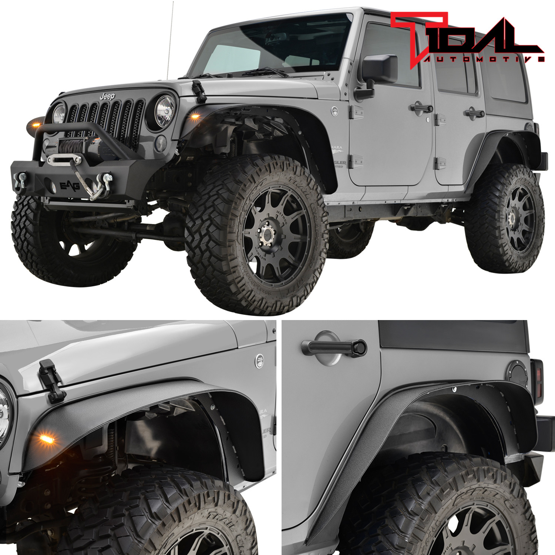 Tidal Fender Flares Front Rear W Turn Lights Steel Fits 07 18 Jeep Wrangler Jk Ebay