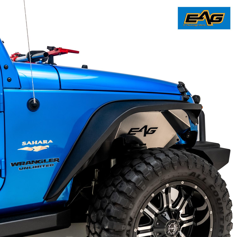 EAG Inner Fender Liner Silver Aluminum Rear 2PCS for 07-18 Jeep Wrangler JK