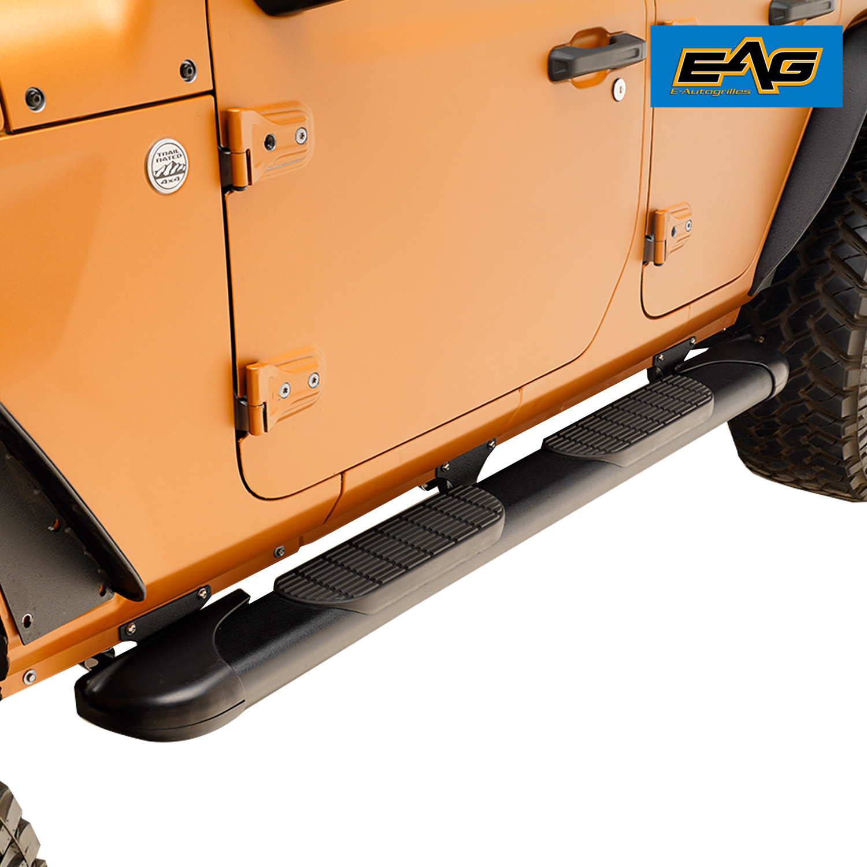 "70/""x6/"" Black Steel Oval Running Board Brackets for 11-18 Jeep Wrangler 4 Door"