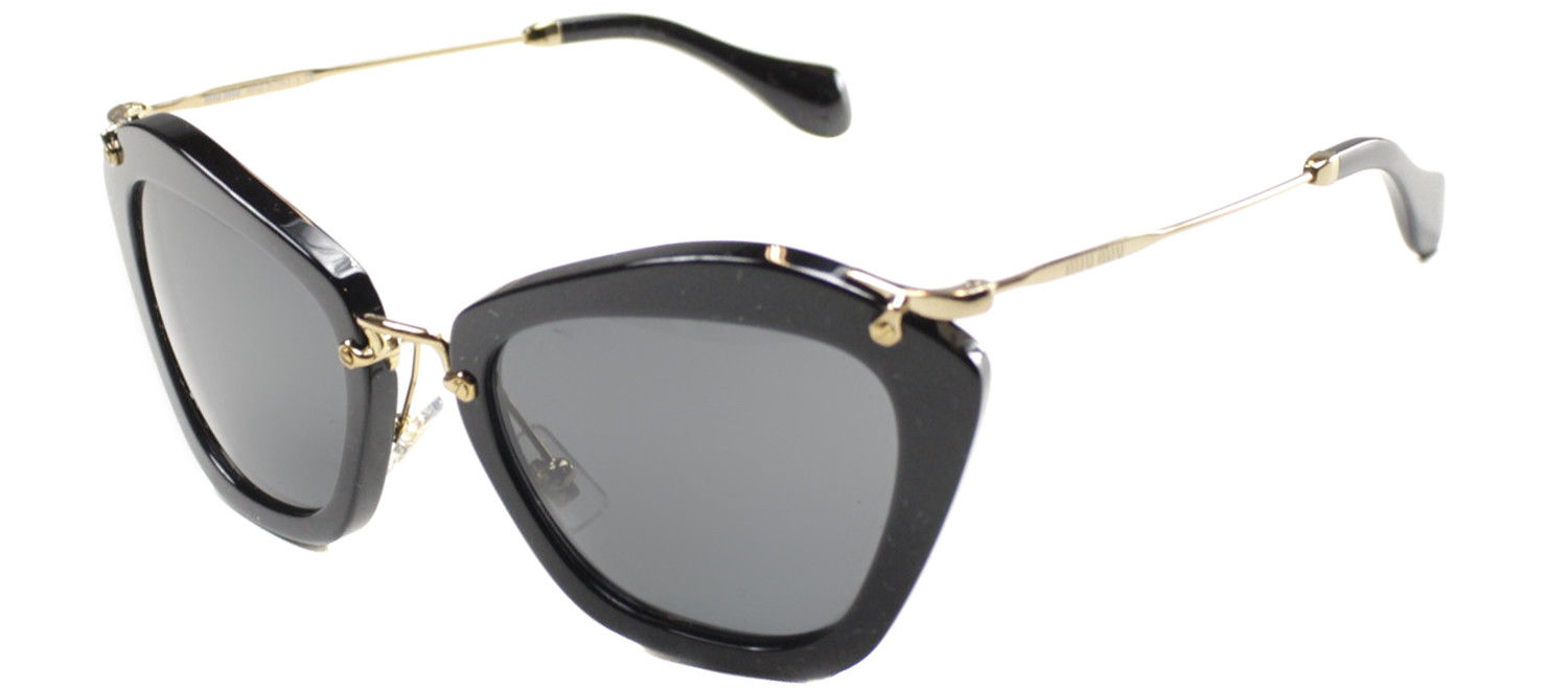 3f42e5c48ead Authentic Miu Miu Noir MU 10NS 1AB1A1 Black Gold Plastic Sunglasses ...