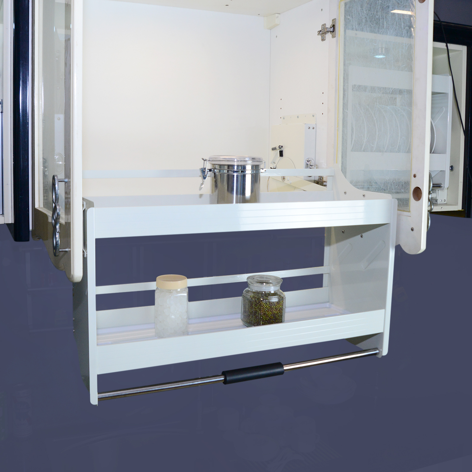 Details about Pull Down 2 Tier Shelves Storage System Wall Cabinet Kitchen  Bathroom Bars Room