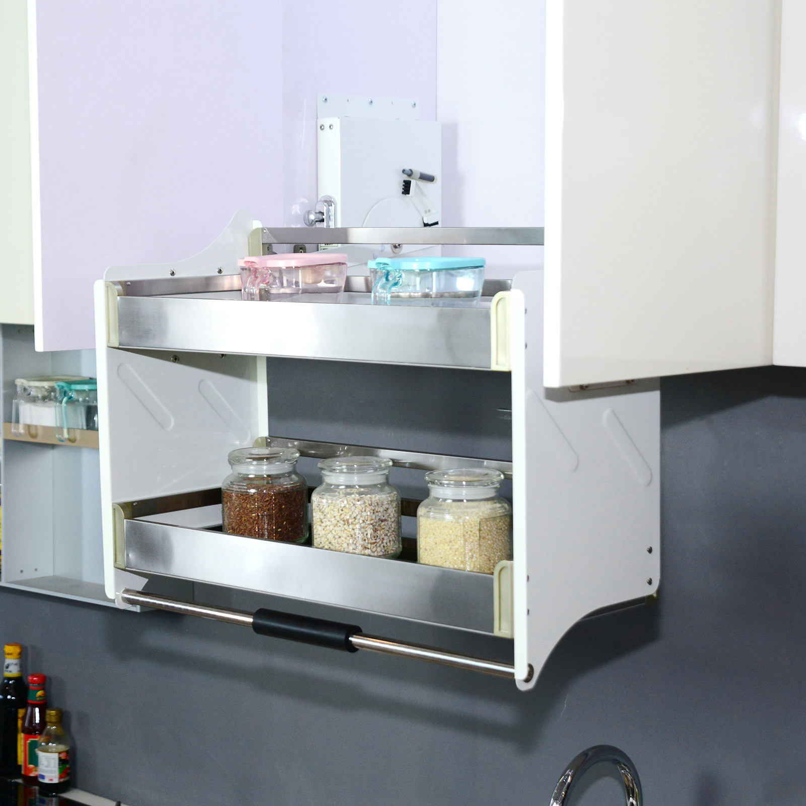 Details about 2 Tier Pull Down 700mm Storage Organizer Wall Cabinet  Shelving System Kitchen