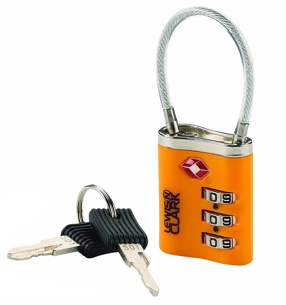 6e1d67fa19d0 Details about Lewis N. Clark Travel Sentry Cable Lock with Keys, Orange  #TSA44ONG