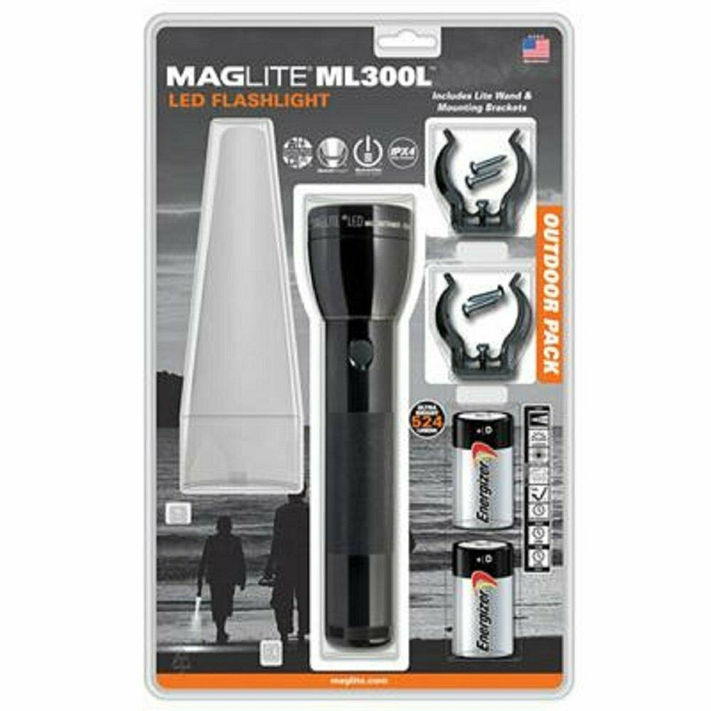 Maglite ML300LS2016 2 Cell D Ml300L LED Flashlight Black-Blister Pack