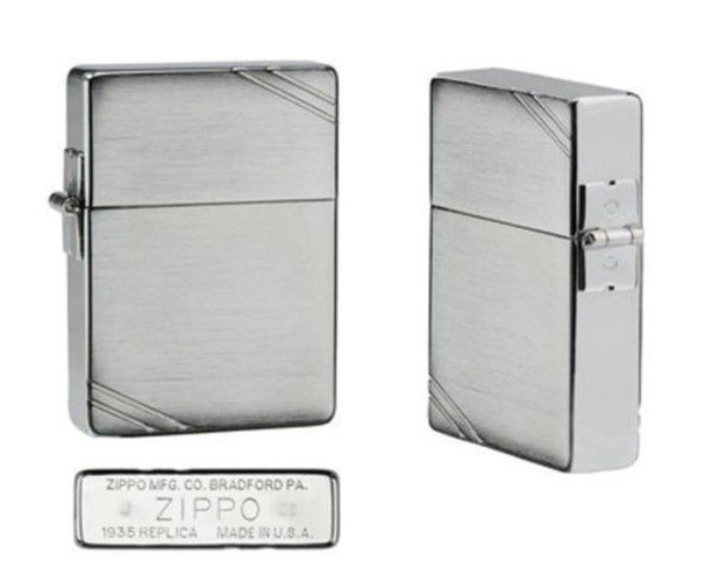 "Zippo ""1935 Replica"" Lighter with Brushed Chrome Finish and"