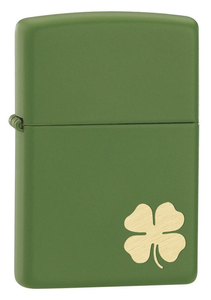 "Zippo ""Shamrock"" Lighter with John Deere Green Matte Finish"