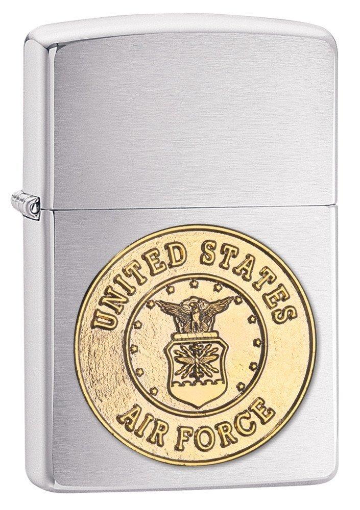 Zippo United States Air Force Emblem Pocket Lighter, Brushed