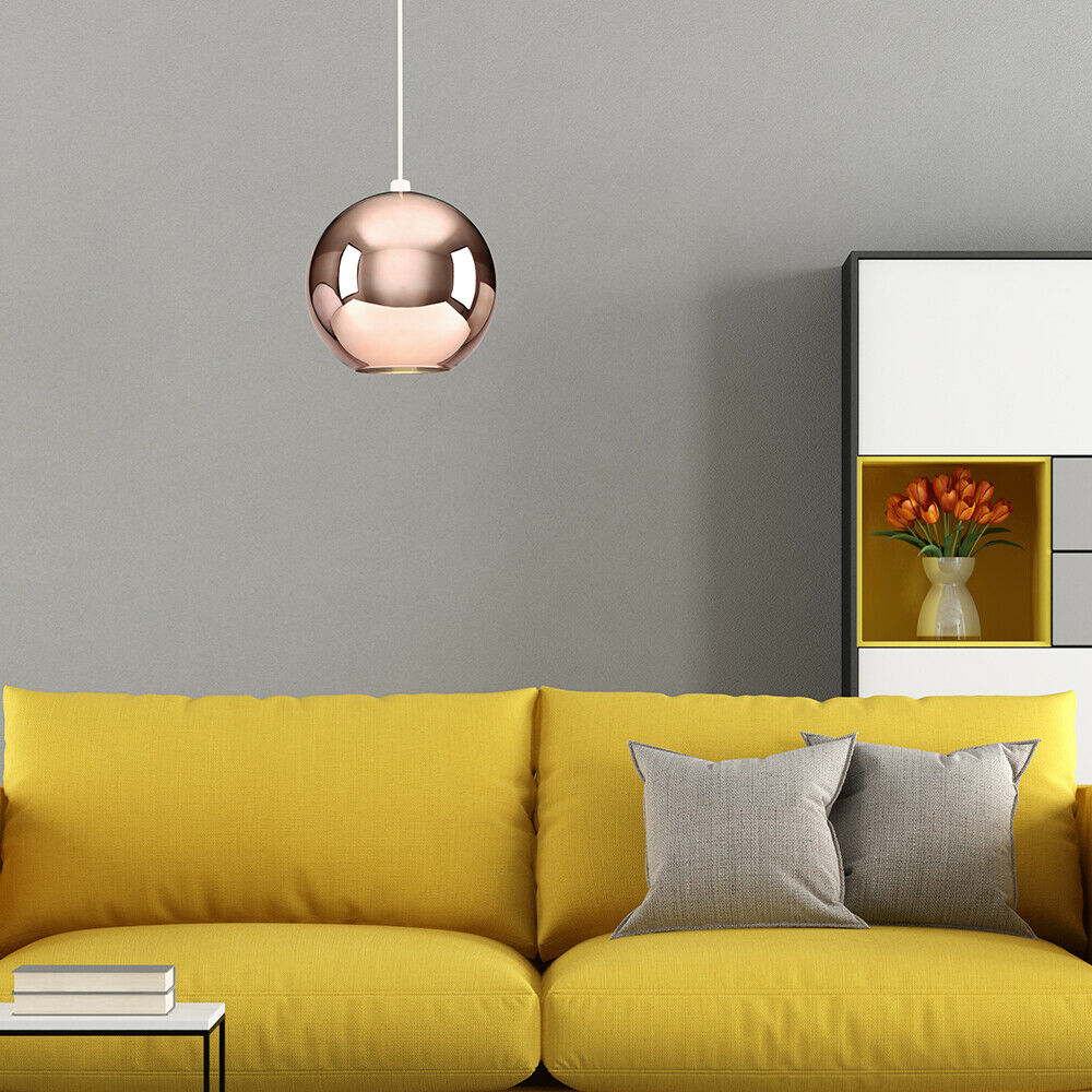 Copper-amp-Chrome-Metallic-Glass-Globe-Non-Electric-Ceiling-Pendant-Easy-Light thumbnail 26