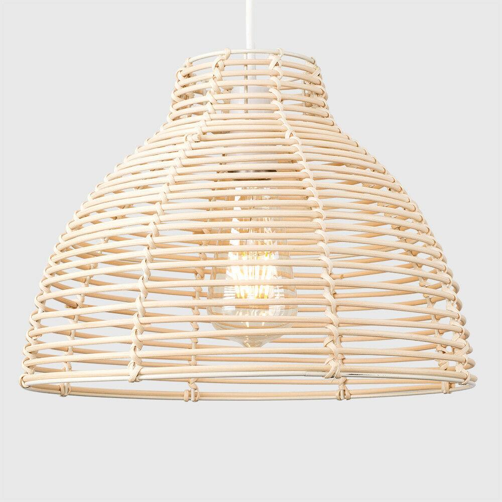 Modern-Round-Rattan-Wicker-Style-Ceiling-Pendant-Light-Lamp-Shades-Lampshades thumbnail 13