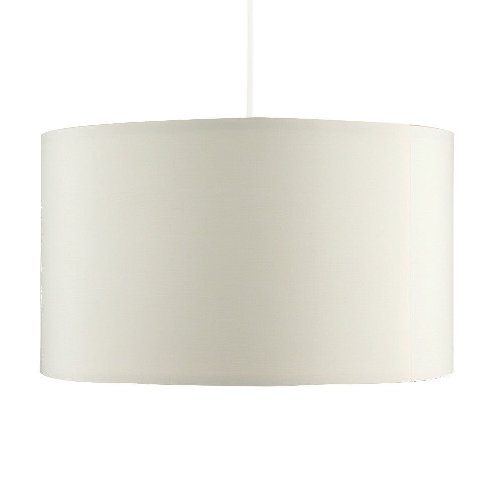 Grand-Tambour-Coton-Leger-nuances-Abat-jour-ajustement-facile-creme-noir-gris-beige-Ampoule miniature 15