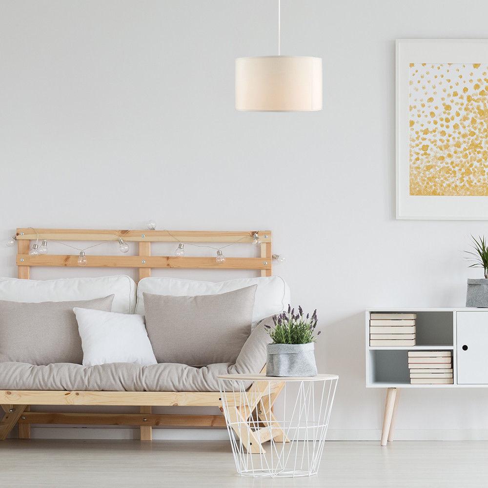 Grand-Tambour-Coton-Leger-nuances-Abat-jour-ajustement-facile-creme-noir-gris-beige-Ampoule miniature 19