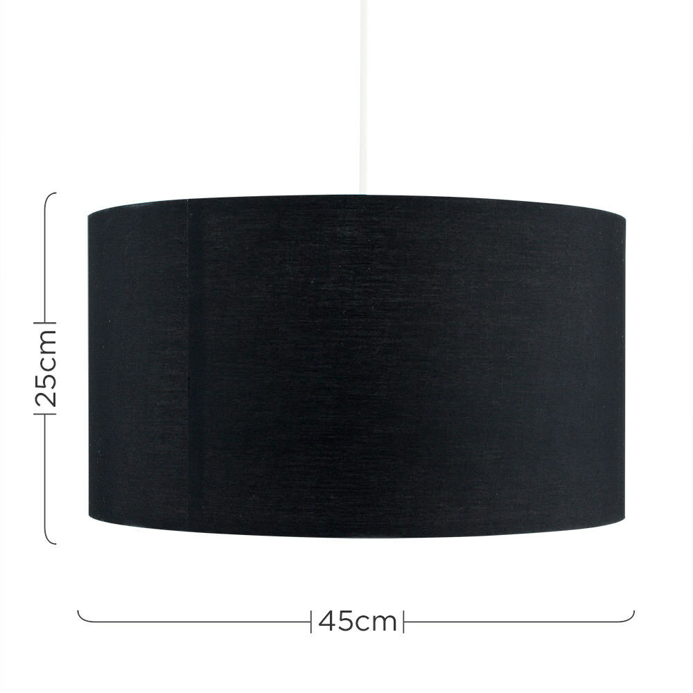 Grand-Tambour-Coton-Leger-nuances-Abat-jour-ajustement-facile-creme-noir-gris-beige-Ampoule miniature 12