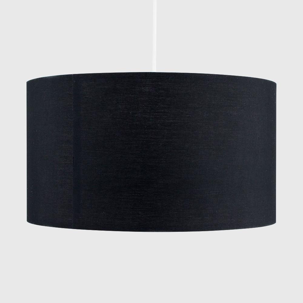 Grand-Tambour-Coton-Leger-nuances-Abat-jour-ajustement-facile-creme-noir-gris-beige-Ampoule miniature 10