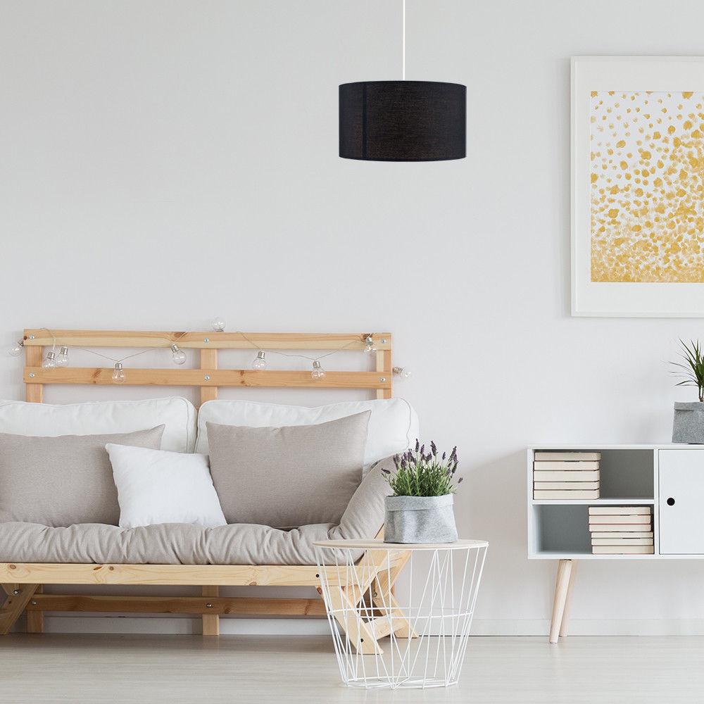 Grand-Tambour-Coton-Leger-nuances-Abat-jour-ajustement-facile-creme-noir-gris-beige-Ampoule miniature 13
