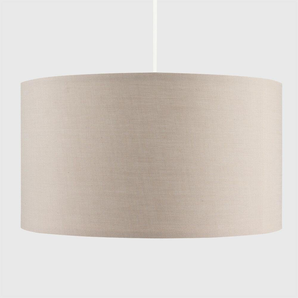 Grand-Tambour-Coton-Leger-nuances-Abat-jour-ajustement-facile-creme-noir-gris-beige-Ampoule miniature 4