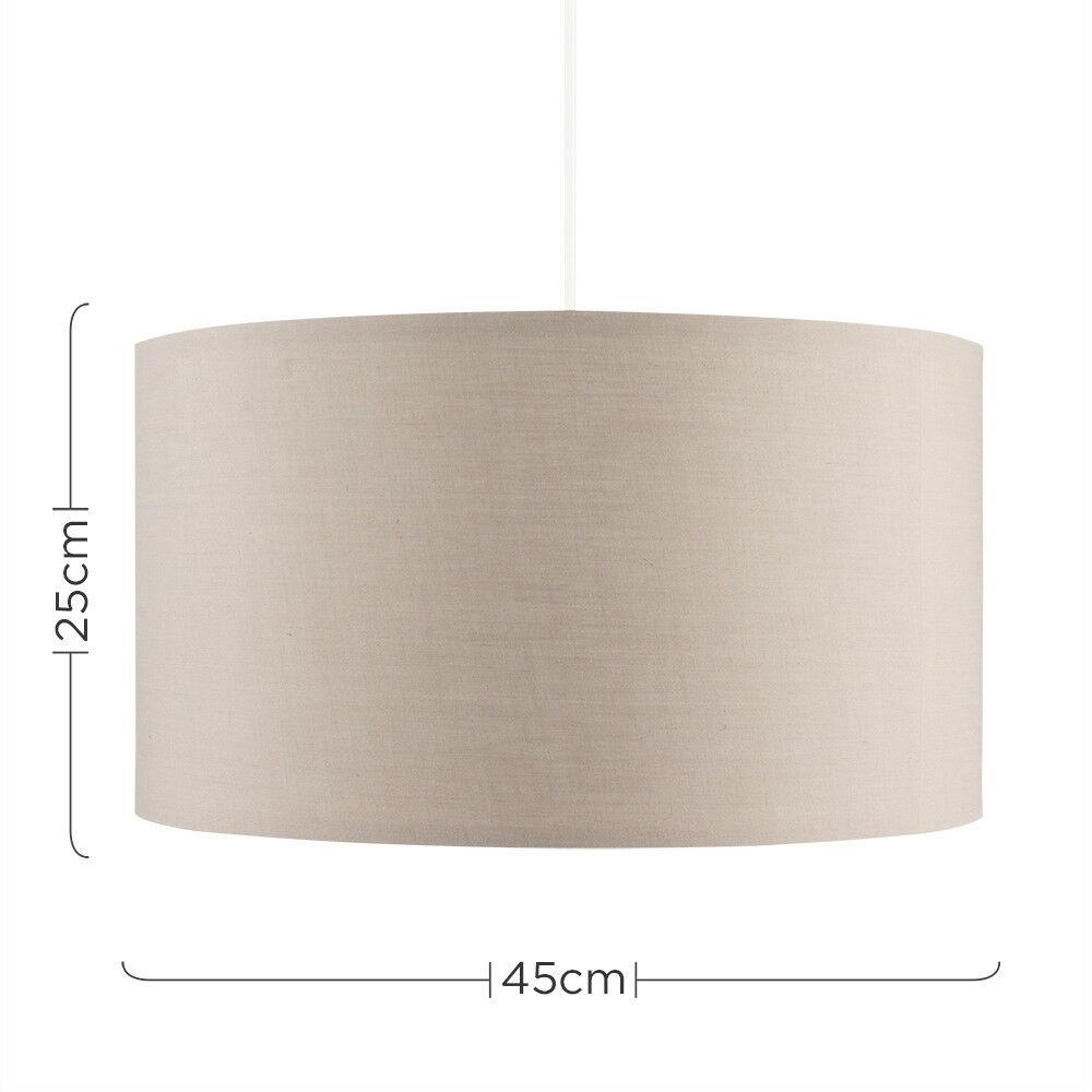 Grand-Tambour-Coton-Leger-nuances-Abat-jour-ajustement-facile-creme-noir-gris-beige-Ampoule miniature 6