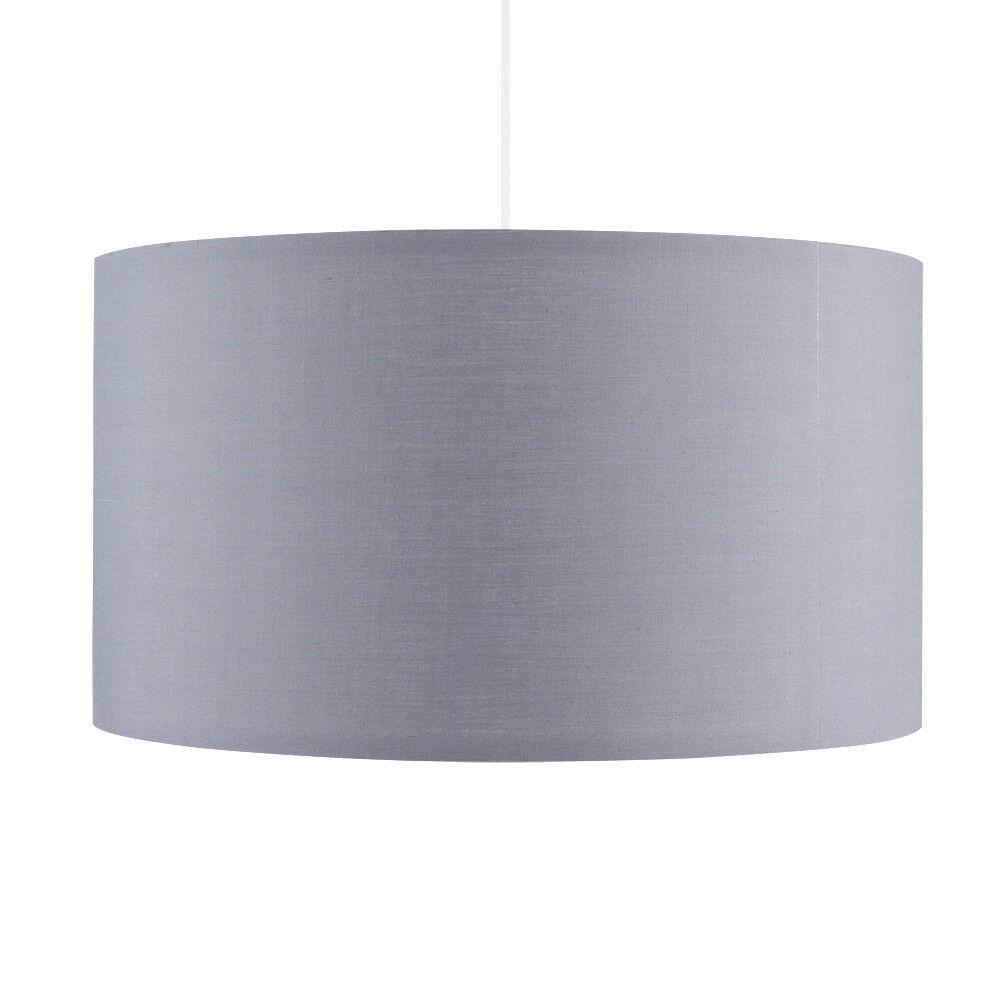 Grand-Tambour-Coton-Leger-nuances-Abat-jour-ajustement-facile-creme-noir-gris-beige-Ampoule miniature 21