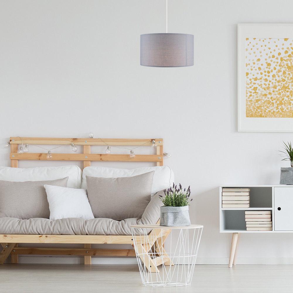 Grand-Tambour-Coton-Leger-nuances-Abat-jour-ajustement-facile-creme-noir-gris-beige-Ampoule miniature 25