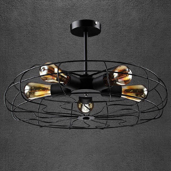 Rustic black metal fan 5 edison bulbs industrial loft - Diy ceiling light fixtures ...