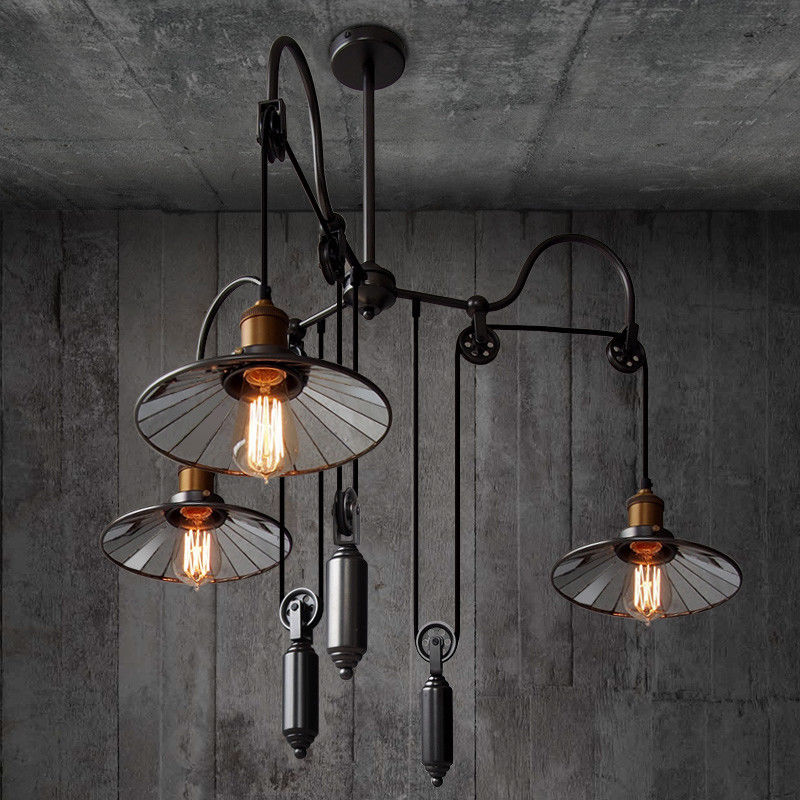 Tray Vintage Pulley Adjustable Pendant Light Conical Lamp