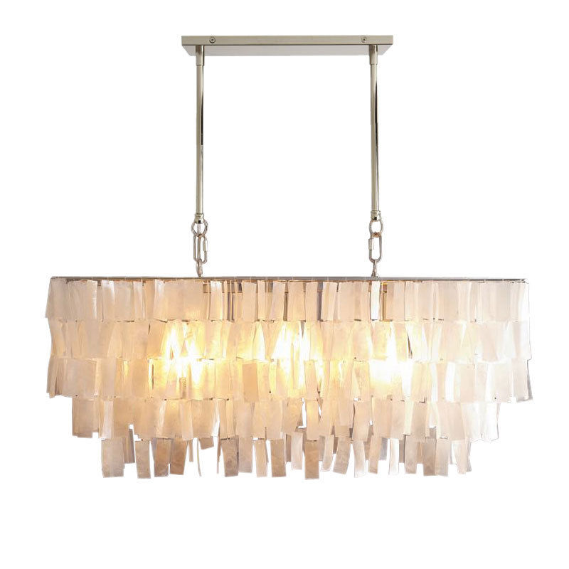 White Mother Of Pearl Rectangle Large Ceiling Pendant Lamp