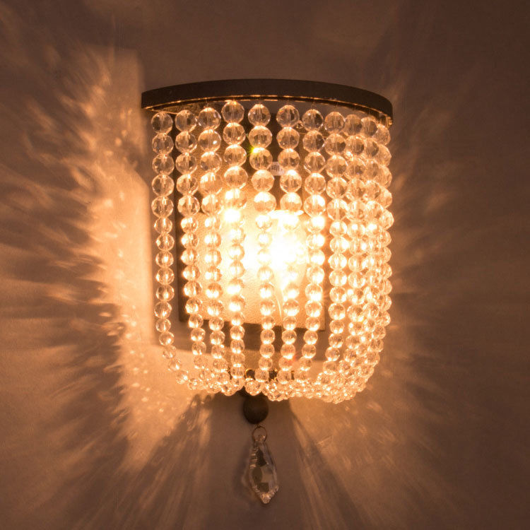 Rustic Single Light Wood/Crystal Beaded Decorative Indoor ...