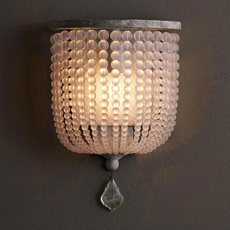 Rustic Single Light Wood/Crystal Beaded Decorative Indoor ... on Wood Wall Sconces Decorative Lighting id=67289