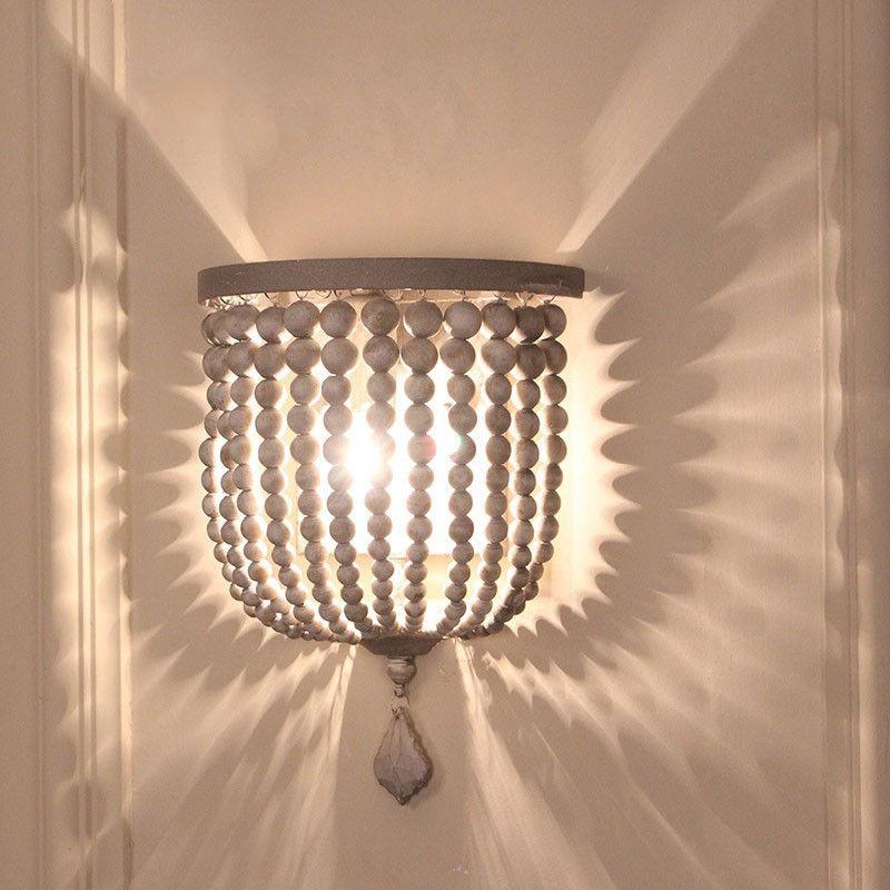 Rustic Single Light Wood/Crystal Beaded Decorative Indoor ... on Wood Wall Sconces Decorative Lighting id=91969